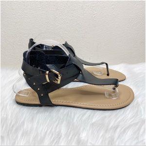 Torrid Black Studded Sandals Flats 10W